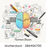 human brain diagram doodles... | Shutterstock .eps vector #386406700