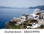 greek town on the hill by the...   Shutterstock . vector #386419990
