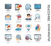 seo and web development flat... | Shutterstock .eps vector #386422936