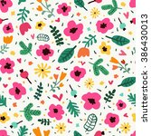 hand drawn seamless floral... | Shutterstock .eps vector #386430013