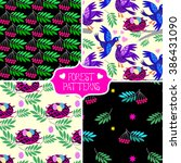 set of floral patterns with... | Shutterstock .eps vector #386431090
