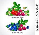 ripe berries and flowers vector ...   Shutterstock .eps vector #386431099