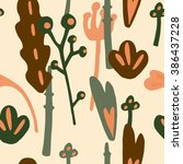 seamless floral doodle pattern... | Shutterstock .eps vector #386437228