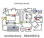shopping online in line design .... | Shutterstock .eps vector #386448316