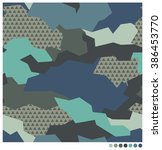 geometric camouflage seamless... | Shutterstock .eps vector #386453770