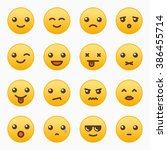 yellow emoticons set vector... | Shutterstock .eps vector #386455714