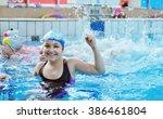 happy children kids group at... | Shutterstock . vector #386461804