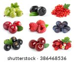 collection of sweet berries on... | Shutterstock . vector #386468536