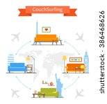 couch surfing and sharing... | Shutterstock . vector #386468626