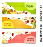 fruits colorful flat... | Shutterstock . vector #386485459