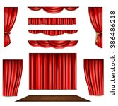 red curtain and stage icons set | Shutterstock . vector #386486218