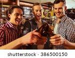 three young men in casual... | Shutterstock . vector #386500150