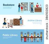 library horizontal banners set | Shutterstock . vector #386502823