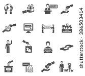 charity black white icons set | Shutterstock . vector #386503414