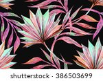 watercolor tropical palm leaves ... | Shutterstock . vector #386503699