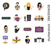 karaoke flat icons set | Shutterstock . vector #386504608