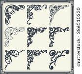 vintage design elements corners | Shutterstock .eps vector #386510320