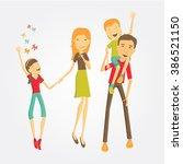 family of four is having fan | Shutterstock .eps vector #386521150
