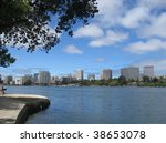 Downtown Oakland across Lake Merritt - stock photo
