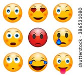 set of emoticons  emoji... | Shutterstock .eps vector #386531080