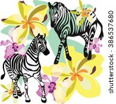 two zebras in tropical flowers... | Shutterstock .eps vector #386537680