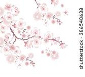white tree blossom design... | Shutterstock .eps vector #386540638