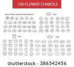 100 flower thin line flat... | Shutterstock .eps vector #386542456