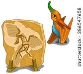 skeleton fossil of a dinosaur... | Shutterstock .eps vector #386547658