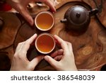 top view tea set a wooden table ... | Shutterstock . vector #386548039
