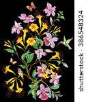exotic flowers  birds and... | Shutterstock . vector #386548324