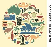 australian icons in the form of ... | Shutterstock .eps vector #386557360