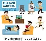 leisure activities. infographic ... | Shutterstock .eps vector #386561560
