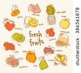 fresh fruits set | Shutterstock .eps vector #386561878