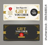 gift voucher template with... | Shutterstock .eps vector #386568814