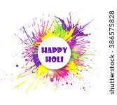 happy holi banner with colorful ... | Shutterstock .eps vector #386575828