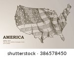 american map flag waving... | Shutterstock .eps vector #386578450