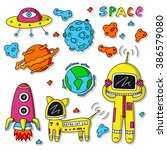 vector colorful stickers of... | Shutterstock .eps vector #386579080