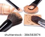 basic makeup products to create ... | Shutterstock . vector #386583874