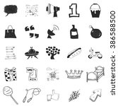 set of 25 various hand drawn... | Shutterstock .eps vector #386588500