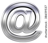 Mail sign from chrome with frame alphabet set, isolated on white. Computer generated 3D photo rendering. - stock photo