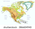 north america physical map ... | Shutterstock .eps vector #386604940