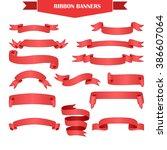 set of realistic red gradient... | Shutterstock .eps vector #386607064