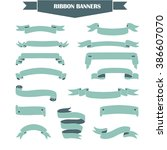 retro styled ribbons collection.... | Shutterstock .eps vector #386607070