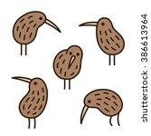 set of doodle kiwi birds in... | Shutterstock .eps vector #386613964