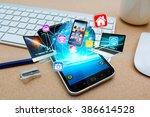 modern mobile phone in office...   Shutterstock . vector #386614528