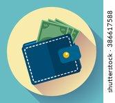 Stock vector wallet icon vector money icon vector wallet with money icon flat 386617588