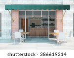 Cafe With Brick Walls And Gree...
