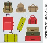 luggage flat set. vector bag... | Shutterstock .eps vector #386628040