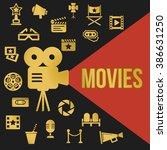 movies retro video projector... | Shutterstock .eps vector #386631250