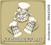 leprechaun with smoking pipe...   Shutterstock . vector #386642608